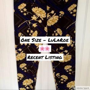 EUC One Size LuLaRoe Flower Leggings
